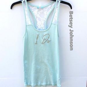 "Betsey Johnson Bridal ""I Do"" racerback tank top"